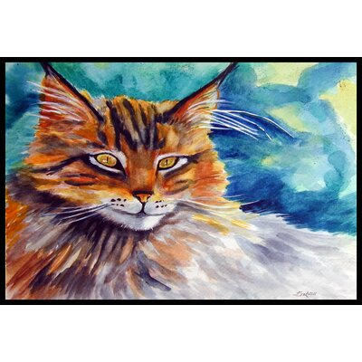 Maine Cat Watching You Doormat Rug Size: 2 x 3