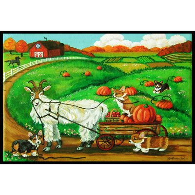 Corgi Pumpkin Ride with Goat Doormat Mat Size: 2 x 3