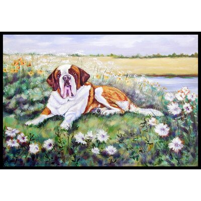 Saint Bernard in Flowers Doormat Rug Size: 16 x 23