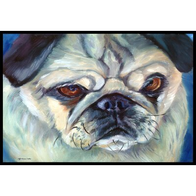 Pug in Thought Doormat Rug Size: 16 x 23