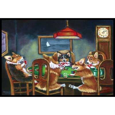 Corgi Playing Poker Doormat Rug Size: 16 x 23