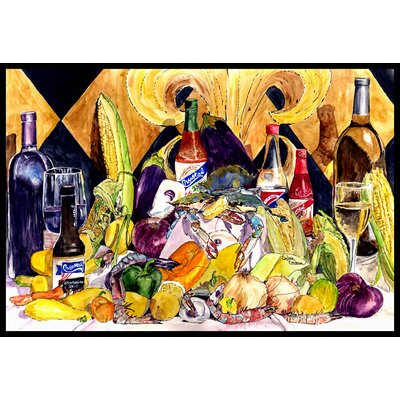 Crystal Hot Sauce with Fleur De Lis and Wine Doormat Mat Size: 2 x 3