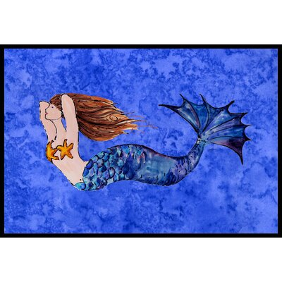 Brunette Mermaid Doormat Mat Size: 2 x 3