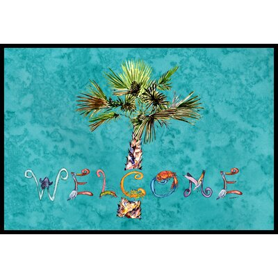 Welcome Palm Tree on Doormat Mat Size: 16 x 23, Color: Teal