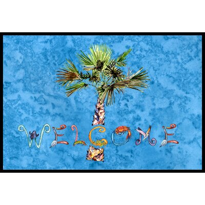 Welcome Palm Tree on Doormat Rug Size: 16 x 23, Color: Blue