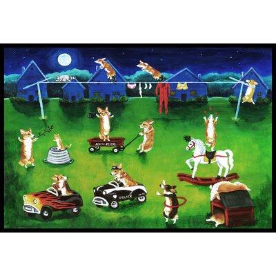 Corgi Backyard Circus Doormat Rug Size: 2 x 3