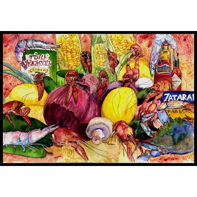 Crawfish with Spices and Corn Doormat Rug Size: 16 x 23