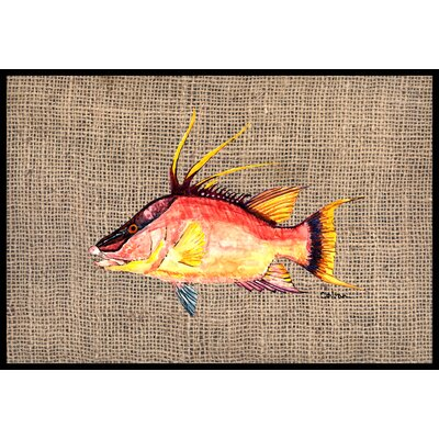 Hog Snapper on Faux Burlap Doormat Mat Size: 2 x 3