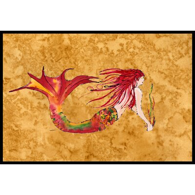 Mermaid Ginger Headed Doormat Rug Size: 16 x 23