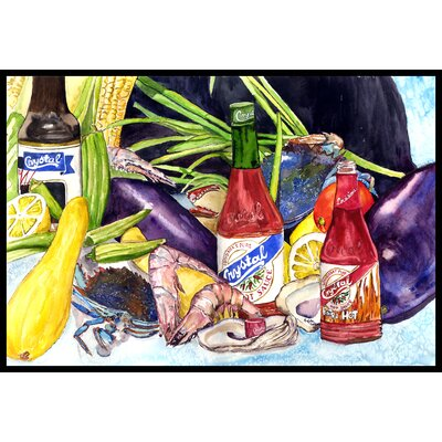 Crystal Hot Sauce with Seafood Doormat Rug Size: 16 x 23