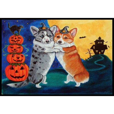 Corgi Halloween Scare Doormat Rug Size: 2 x 3