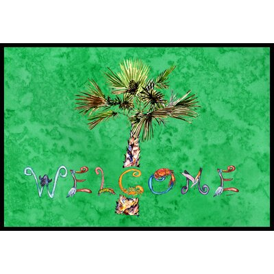 Welcome Palm Tree on Doormat Mat Size: 2 x 3, Color: Green