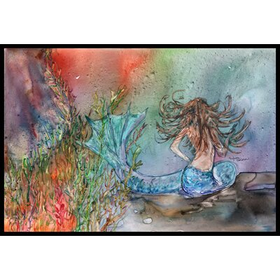 Brunette Mermaid Water Fantasy Doormat Mat Size: 2 x 3