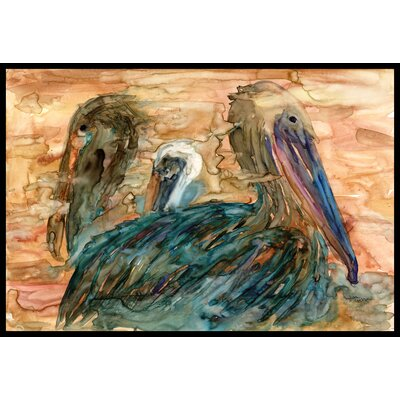 Abstract Pelicans Doormat Rug Size: 16 x 23