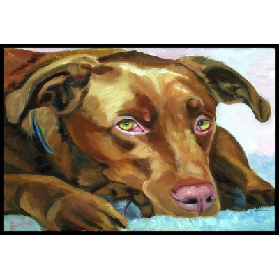 Labrador Waiting Doormat Rug Size: 2 x 3