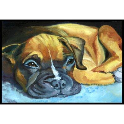 Boxer Pup Doormat Rug Size: 16 x 23