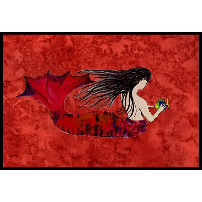 Haired Mermaid on Red Doormat Mat Size: 16 x 23