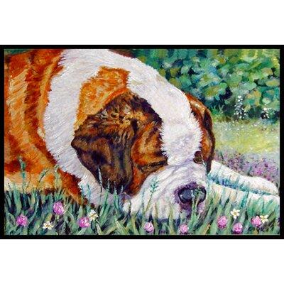 Saint Bernard Naptime Doormat Rug Size: 16 x 23