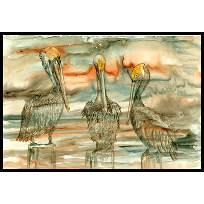 Pelicans on Their Perch Abstract Doormat Rug Size: 16 x 23