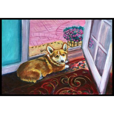 Corgi Watching from the Door Doormat Rug Size: 2 x 3