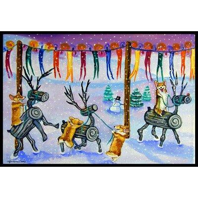 Corgi Log Reindeer Race Christmas Doormat Mat Size: 2 x 3