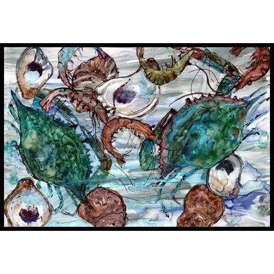 Shrimp, Crabs and Oysters in Water Doormat Mat Size: 2 x 3