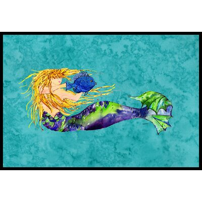 Blonde Mermaid Doormat Mat Size: 2 x 3