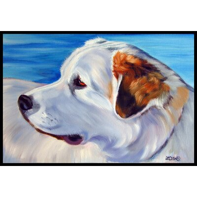 Great Pyrenees at the Beach Doormat Rug Size: 2 x 3