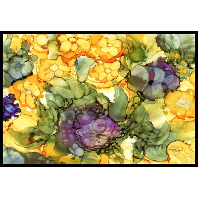 Abstract Flowers Doormat Rug Size: 16 x 23