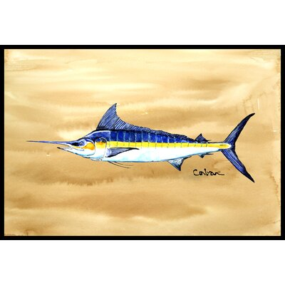 Swordfish on Sandy Beach Doormat Rug Size: 2 x 3