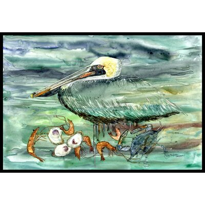 Watery Pelican, Shrimp, Crab and Oysters Doormat Rug Size: 16 x 23