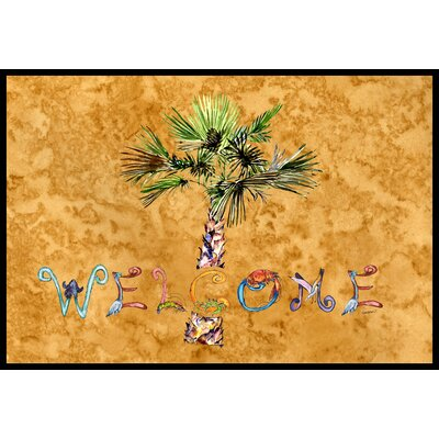 Welcome Palm Tree on Doormat Mat Size: 2 x 3, Color: Gold