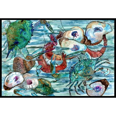 Watery Shrimp, Crabs and Oysters Doormat Rug Size: 2 x 3
