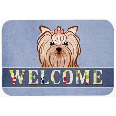 Yorkie Yorkshire Terrier Welcome Kitchen/Bath Mat Size: 24