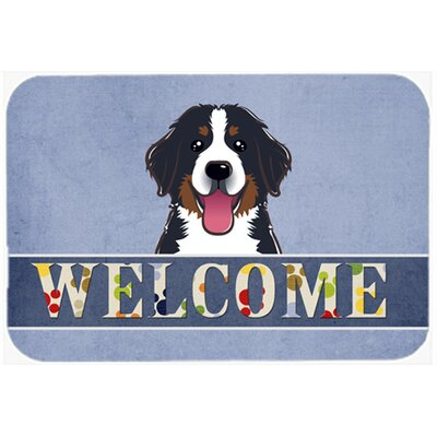 Bernese Mountain Dog Welcome Kitchen/Bath Mat Size: 24 W x 36 L