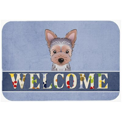 Yorkie Puppy Welcome Kitchen/Bath Mat Size: 24 W x 36 L