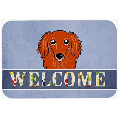 Longhair Dachshund Welcome Kitchen/Bath Mat Size: 24 W x 36 L, Color: Red
