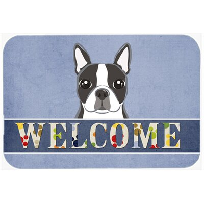 Boston Terrier Welcome Kitchen/Bath Mat Size: 24 W x 36 L