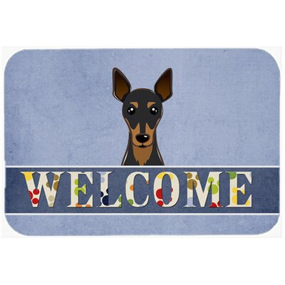 Min Pin Welcome Kitchen/Bath Mat Size: 24 W x 36 L