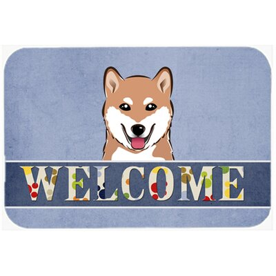 Shiba Inu Welcome Kitchen/Bath Mat Size: 24 W x 36 L