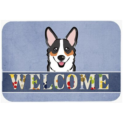 Corgi Welcome Kitchen/Bath Mat Size: 24 W x 36 L, Color: Black/Gray/Tan