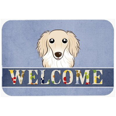 Longhair Dachshund Welcome Kitchen/Bath Mat Size: 24 W x 36 L, Color: Cream