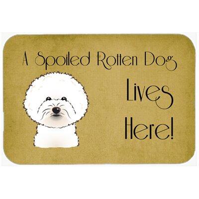 Bichon Frise Spoiled Dog Lives Here Kitchen/Bath Mat Size: 24 W x 36 L