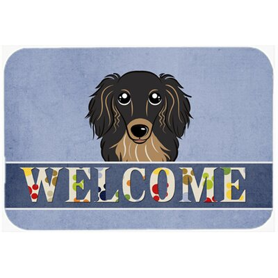 Longhair Dachshund Welcome Kitchen/Bath Mat Size: 20 W x 30 L, Color: Black/Tan