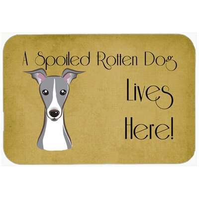 Italian Greyhound Spoiled Dog Lives Here Kitchen/Bath Mat Size: 24 W x 36 L