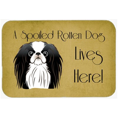 Japanese Chin Spoiled Dog Lives Here Kitchen/Bath Mat Size: 20 W x 30 L