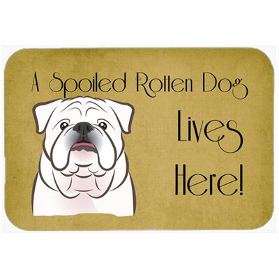 English Bulldog Spoiled Dog Lives Here Kitchen/Bath Mat Size: 24 W x 36 L, Color: White