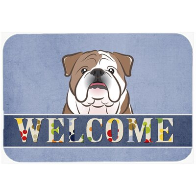English Bulldog Welcome Kitchen/Bath Mat Color: Brown, Size: 24 W x 36 L
