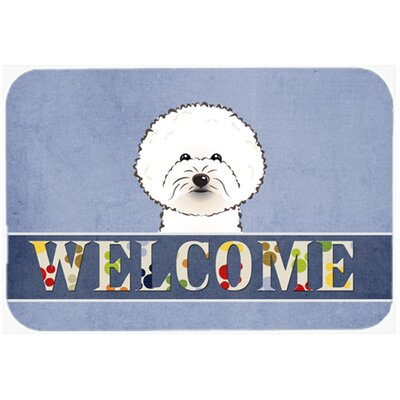 Bichon Frise Welcome Kitchen/Bath Mat Size: 20 W x 30 L