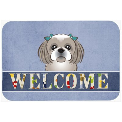 Shih Tzu Welcome Kitchen/Bath Mat Size: 24 W x 36 L, Color: Gray/Silver